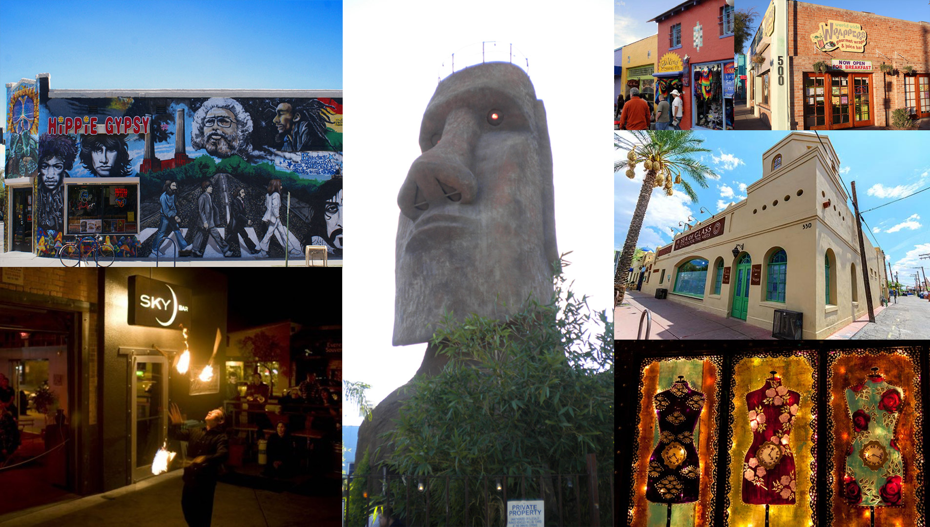 A collection of the sights from historic Fourth Avenue in Tucson, Arizona.
