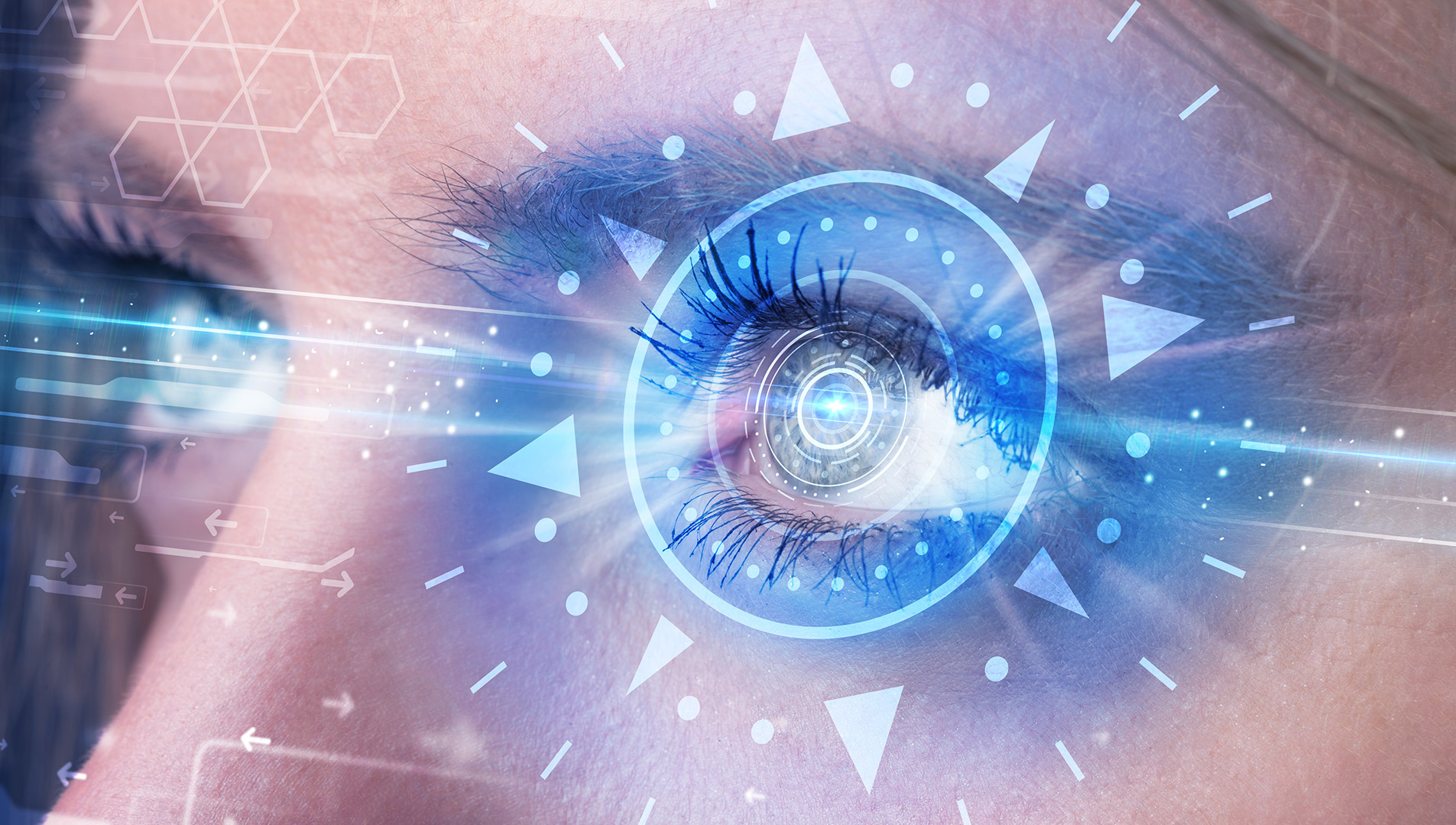 A light blue hologram emanates from a woman's eye.