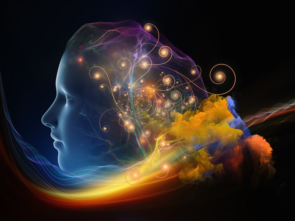 The holographic face of a woman gazes left as rainbow smoke and fractal thoughts form around her thoughts.